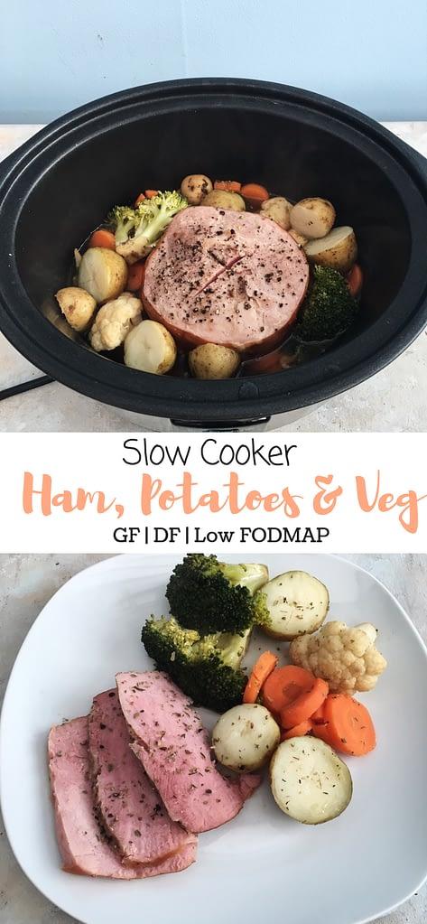 Slow cooker ham, potatoes and veg