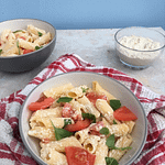 cheesy tomato & basil pasta in a bowl