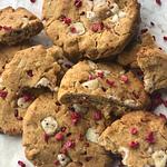 pile of white chocolate raspberry cookies