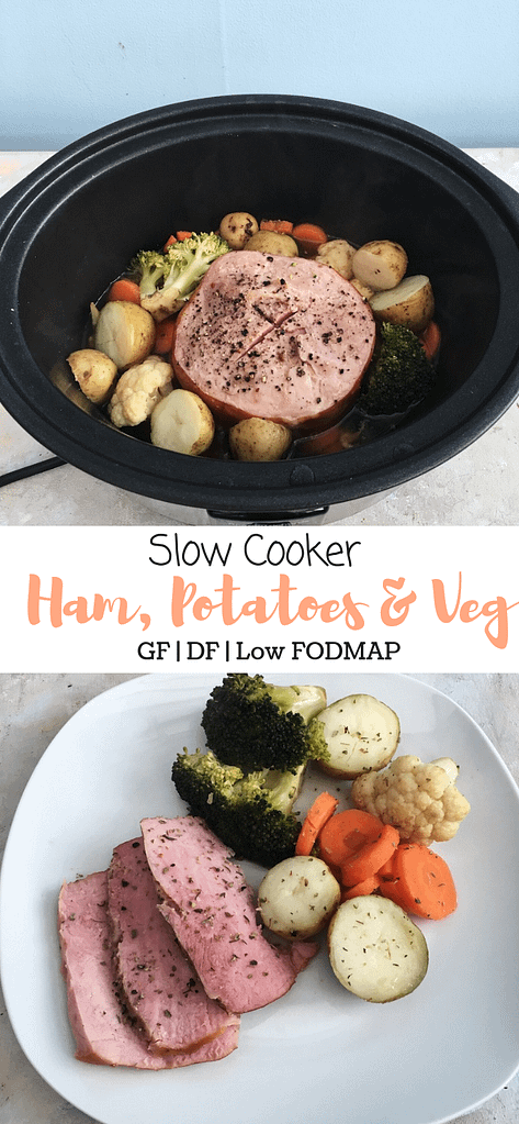Slow cooker ham, potatoes and veg