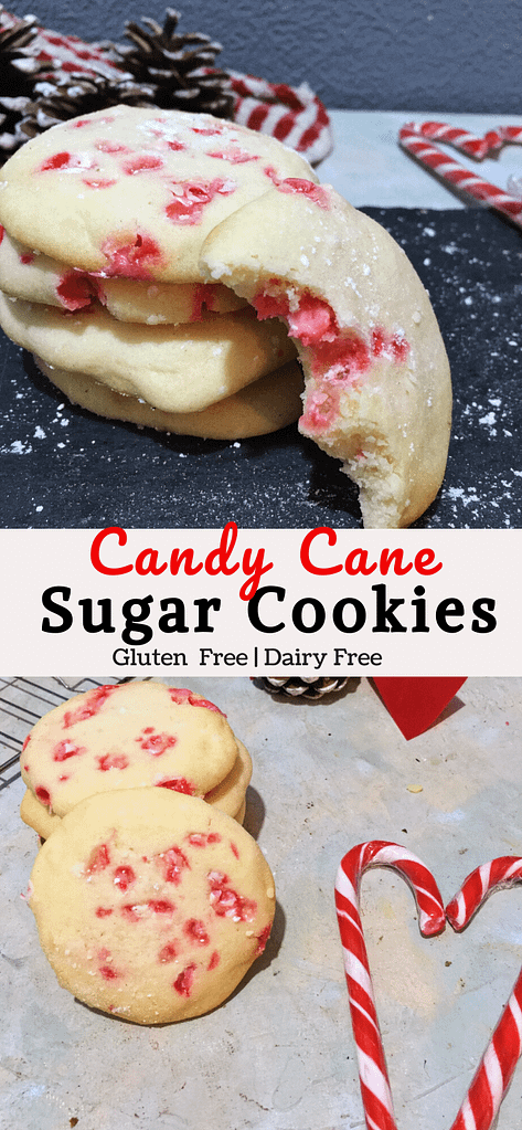 pinterest double image of candy cane cookies