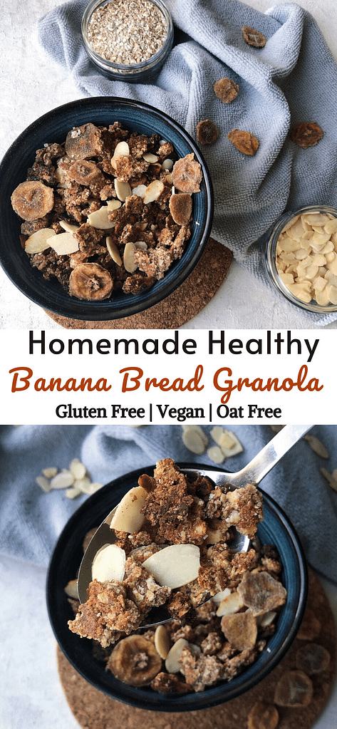 duo pictures of Banana Bread Granola