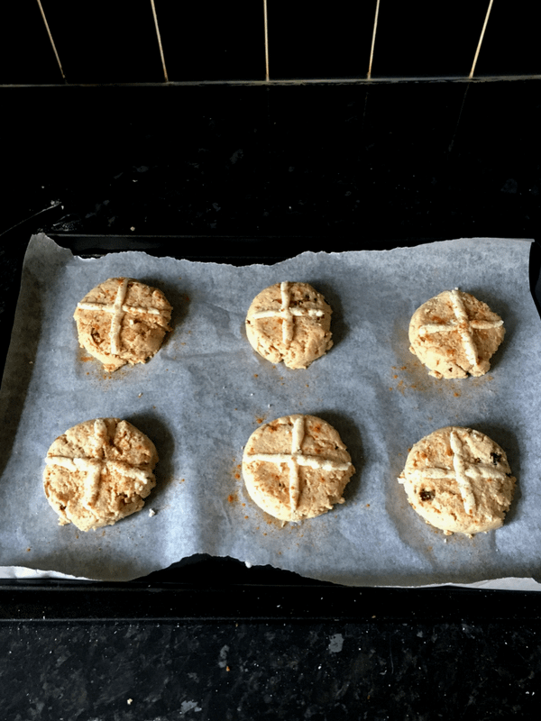 Healthy lower carb higher protein hot cross buns (Gluten, dairy, yeast free and no added sugar)