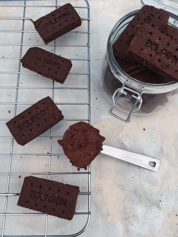 flatlay of chocolate bourbon biscuits