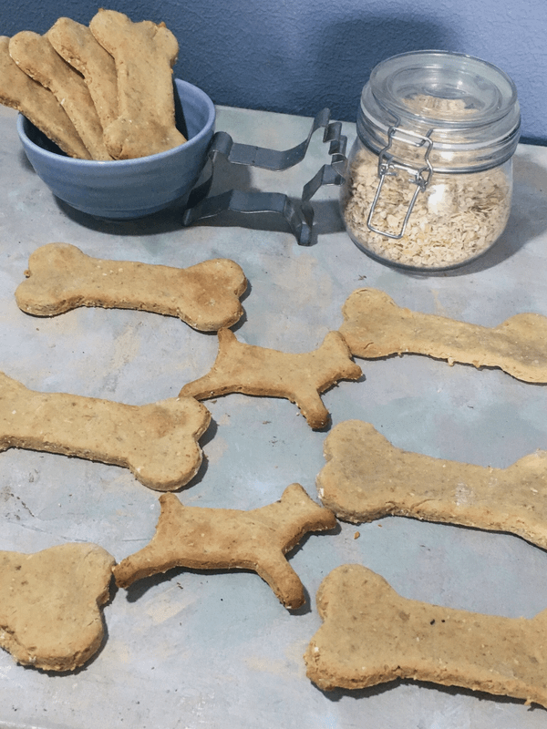 both dog bones and dog shaped biscuits