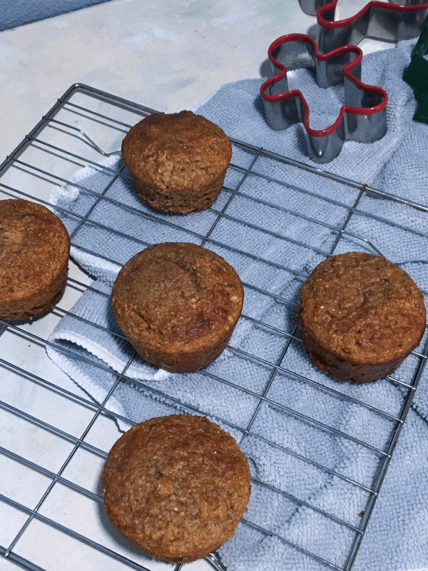 gingerbread muffins on a wire rack