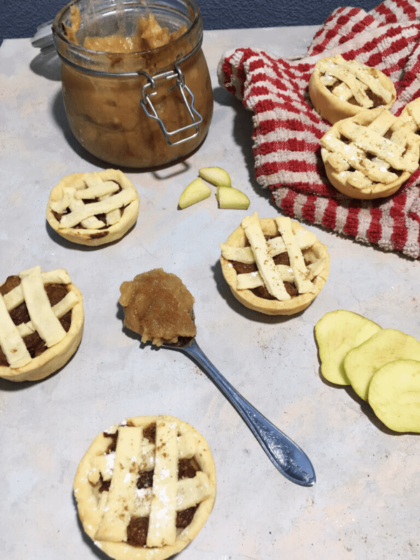flat lay of mini apple pies