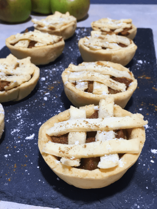 row of mini apple pies