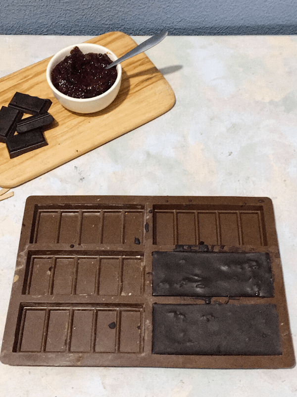 chocolate bar and moulds