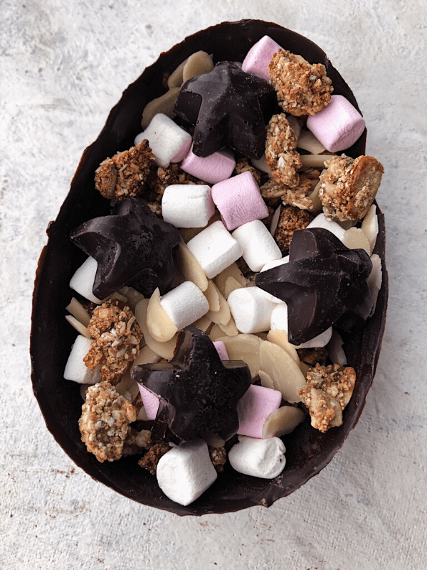 chocolate egg filled with marshmallows and granola