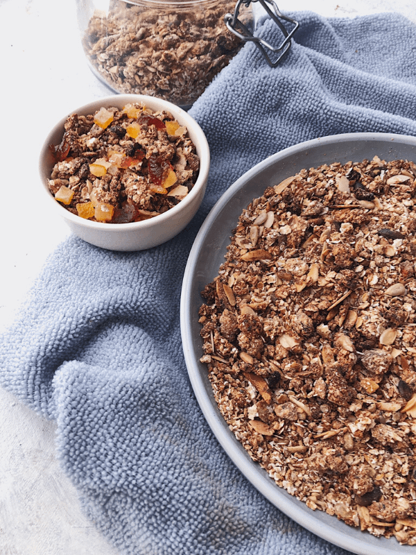 side angle of plate of granola
