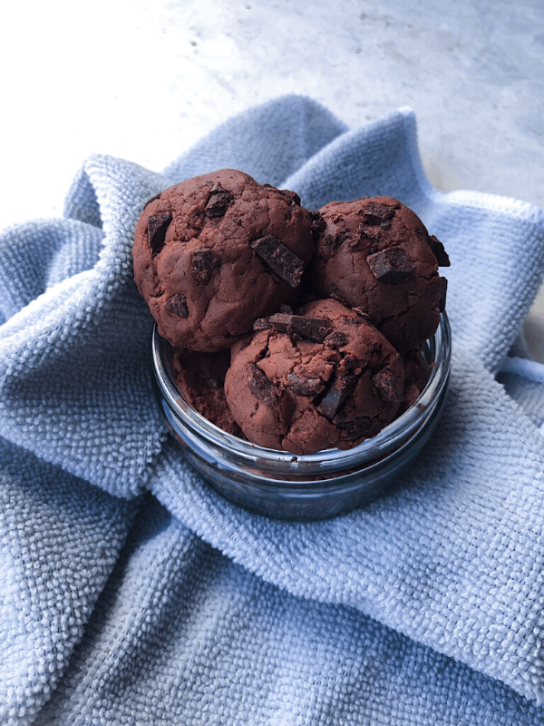 bowl of double chocolate chip edible cookie dough