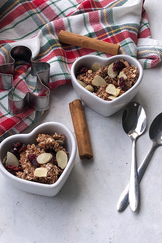 granola in two small heart bowls