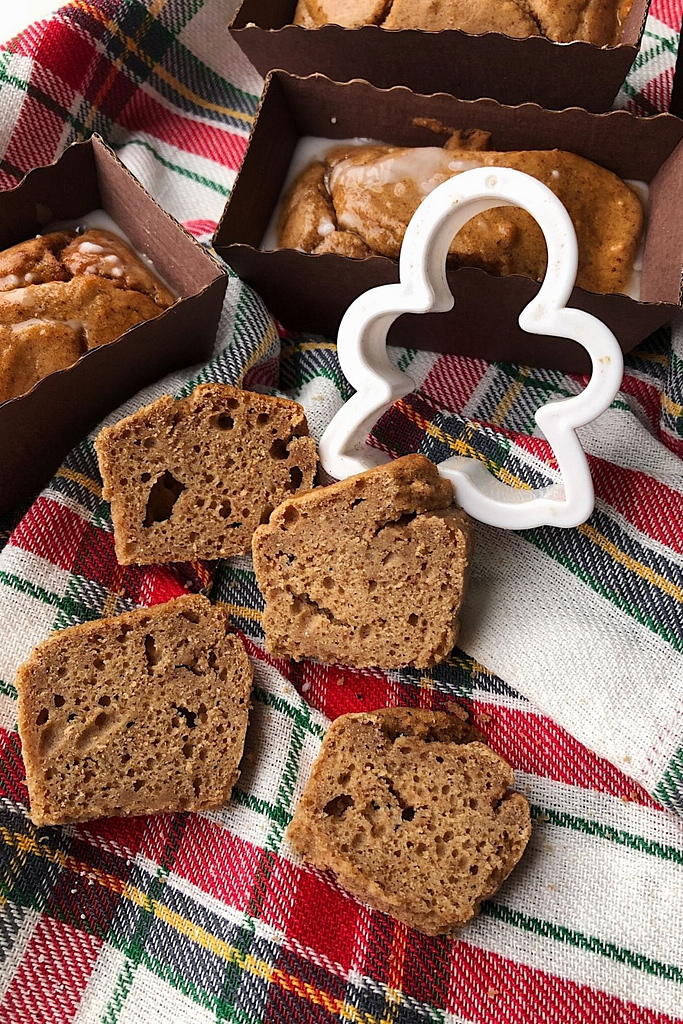 mini gingerbread loaf with cookie cutter