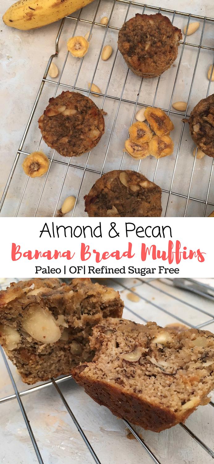 almond pecan banana bread muffins