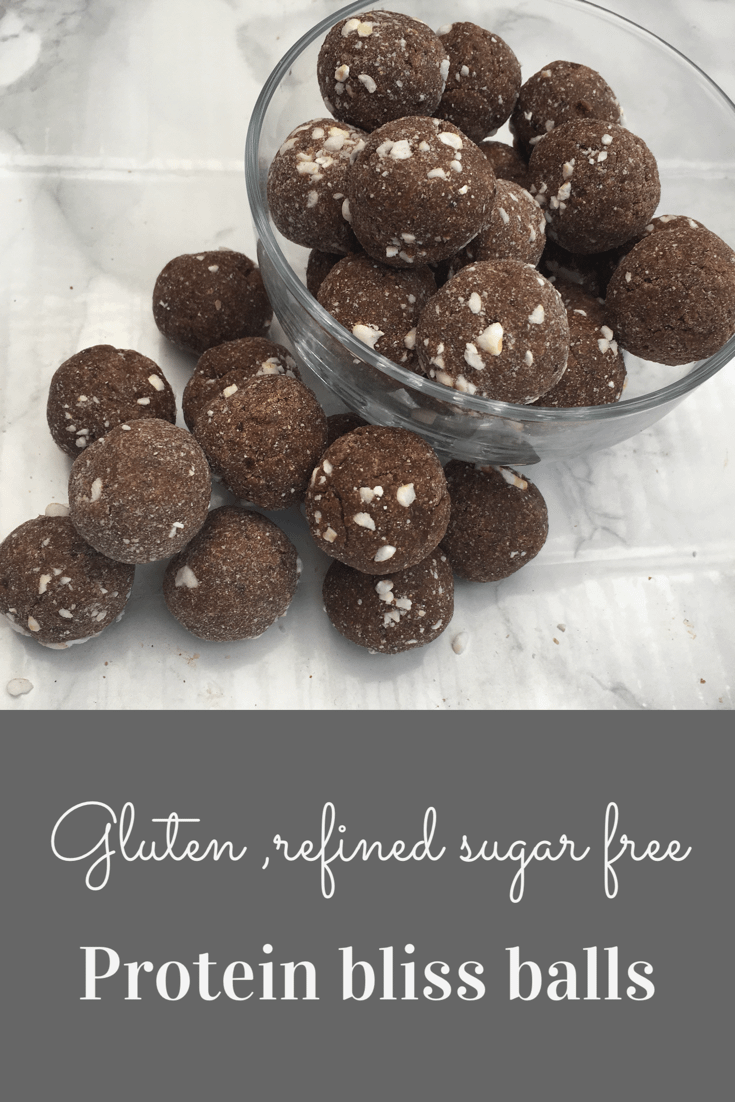 Gluten and refined sugar free protein bliss balls