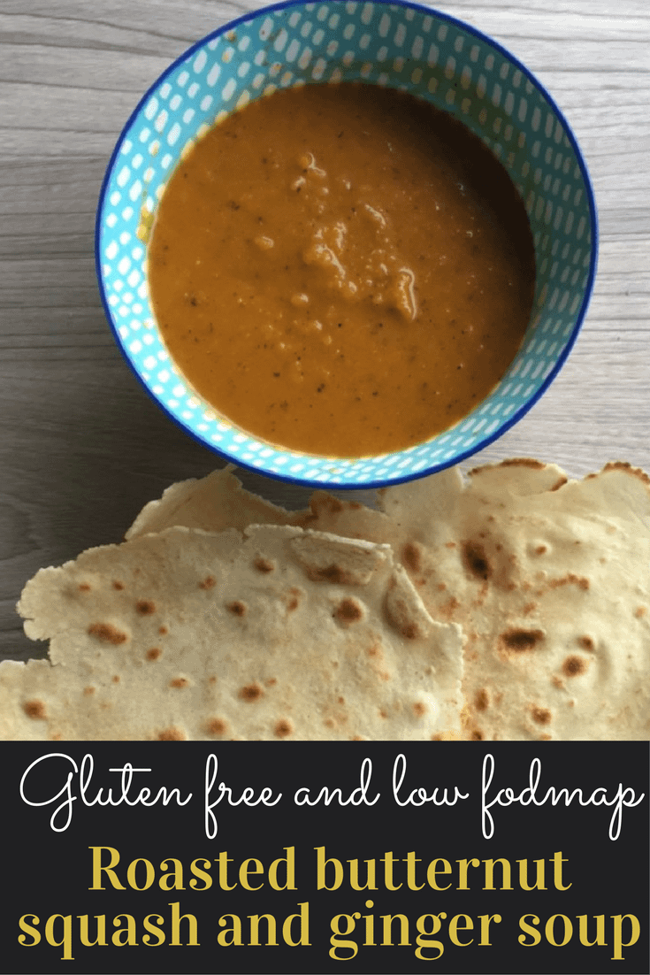 Gluten free low fodmap roasted butternut squash and ginger soup.