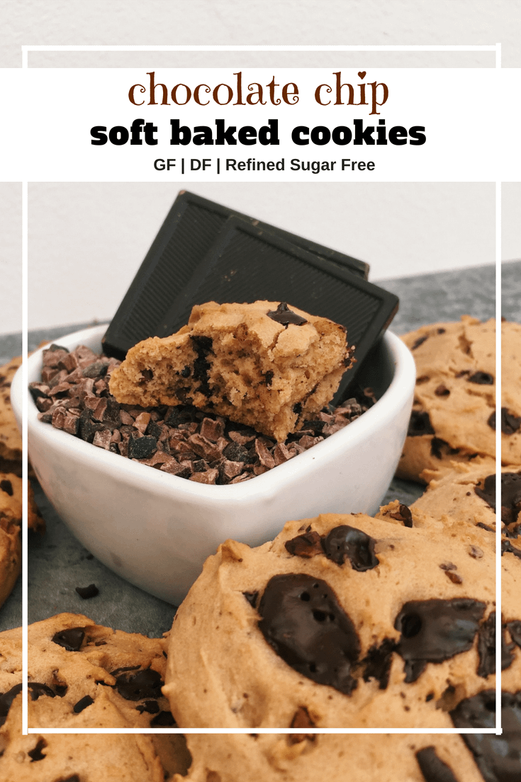 Soft baked chocolate chip cookies (GF, DF, Refined Sugar Free)
