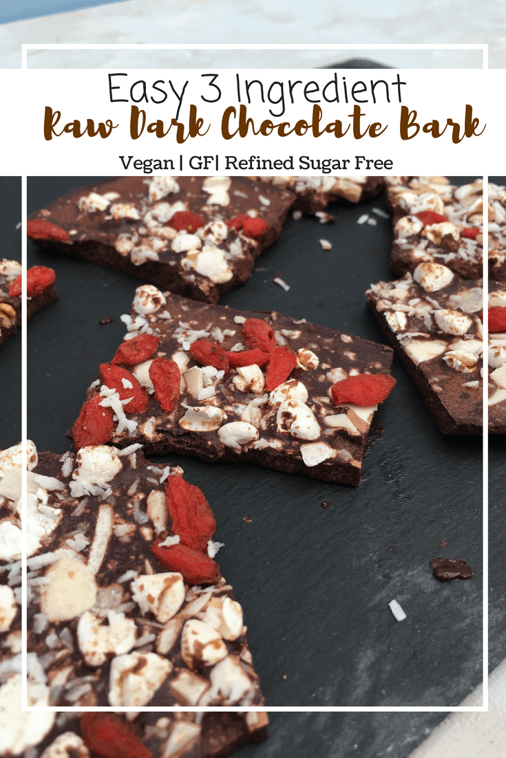 Raw Dark Chocolate Bark (VG, GF, Refined Sugar Free)
