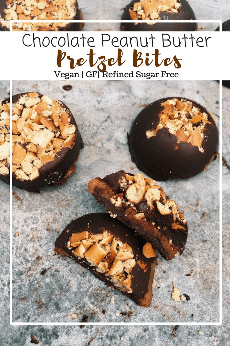 Chocolate Peanut Butter Pretzel Bites (GF, VG, Refined Sugar Free)