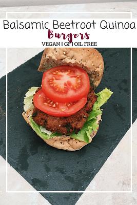 Balsamic beetroot quinoa burgers (GF, VG, OF)