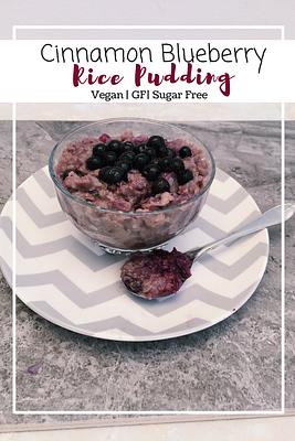 Cinnamon Blueberry Rice Pudding (GF, VG, SF)